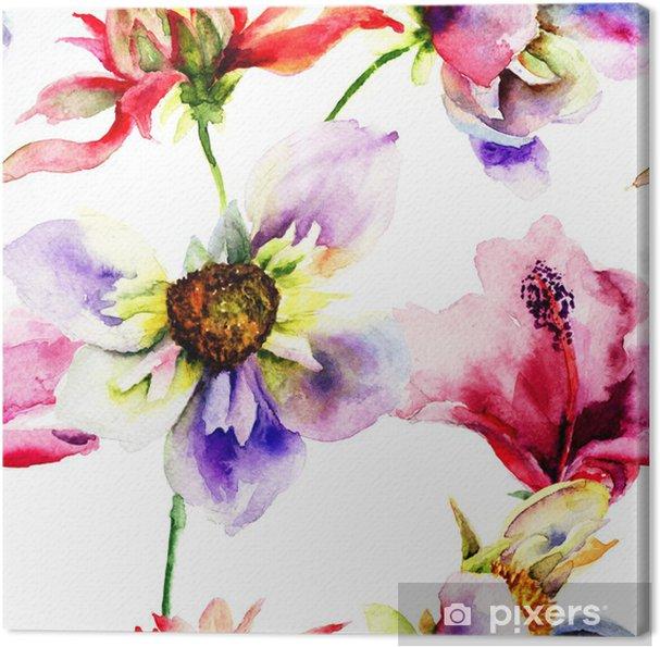 Quadro su Tela Sfondi senza soluzione di continuità con fiori stilizzati
