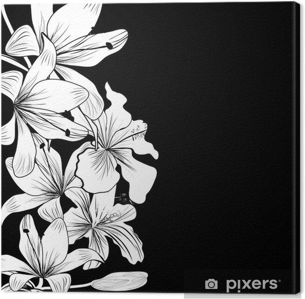 Quadro Su Tela Sfondo Bianco E Nero Con Fiori Bianchi Pixers