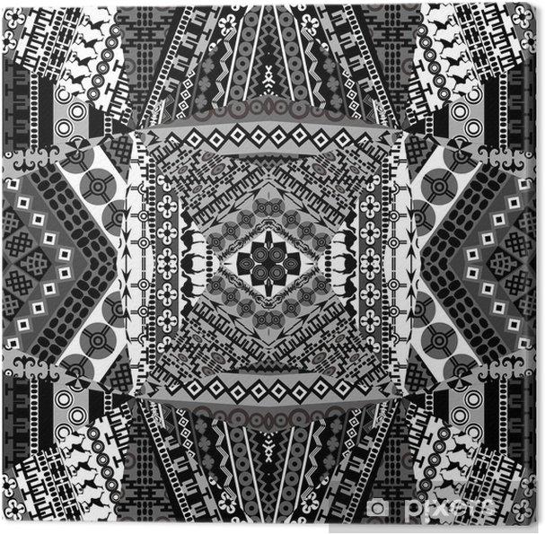 Quadro Su Tela Sfondo Con Mosaico Di Disegni In Bianco E Nero