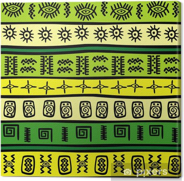 Quadro Su Tela Sfondo Con Ornamenti Tribali Verde E Giallo Pixers
