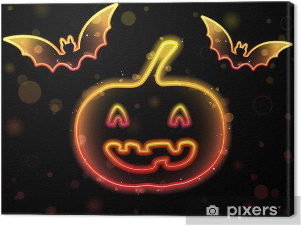 Quadro su Tela Sfondo di Halloween Neon con zucca e pipistrelli - Mammiferi
