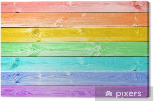 Quadro Su Tela Sfondo Di Tavole Di Legno Verniciato Arcobaleno Colorato Pastello Pixers Viviamo Per Il Cambiamento