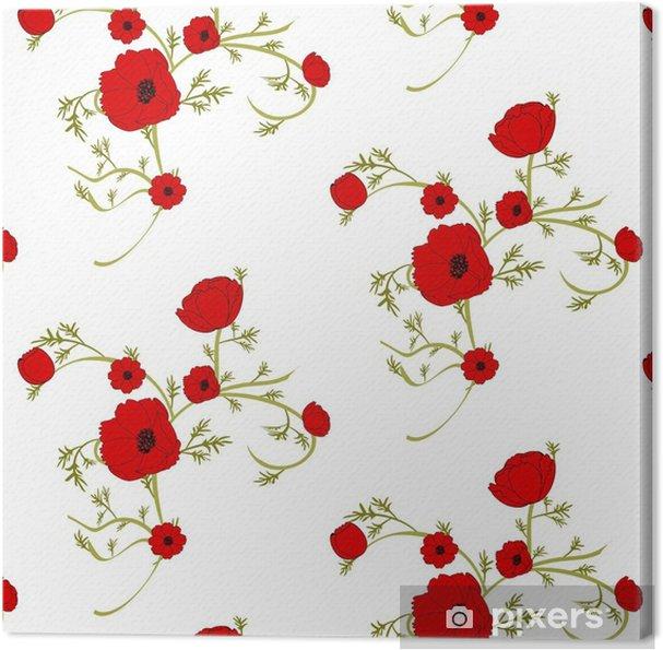 Quadro su tela sfondo floreale delicato con papaveri rossi for Quadri con papaveri rossi