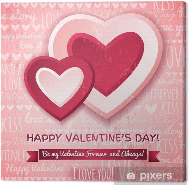 Quadro su Tela Sfondo rosa con cuori di due di San Valentino e ...