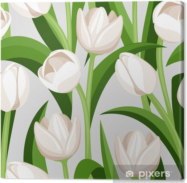 Quadro su Tela Sfondo trasparente con tulipani bianchi ...