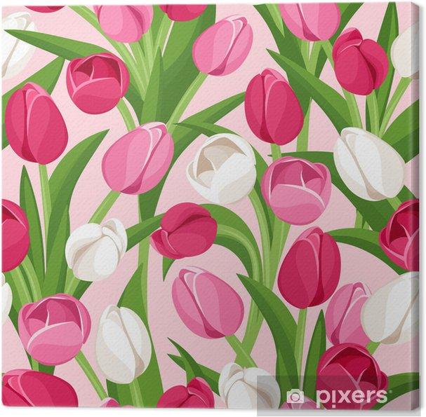 Quadro su Tela Sfondo trasparente con tulipani colorati ...