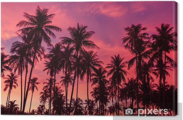 Quadro su Tela Silhouette di alberi di cocco contro il drammatico sfondo rosso cielo al tramonto. - Panorami