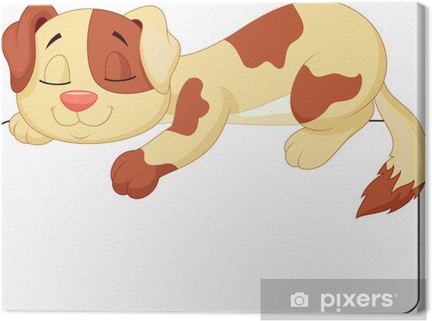 Quadro su tela simpatico cartone animato cane che dorme in etichetta
