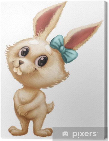 Quadro su tela simpatico coniglio peloso personaggio dei cartoni