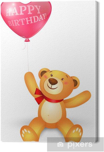 Quadro su Tela Simpatico orsacchiotto con in cuore palloni di forma, auguri  di compleanno