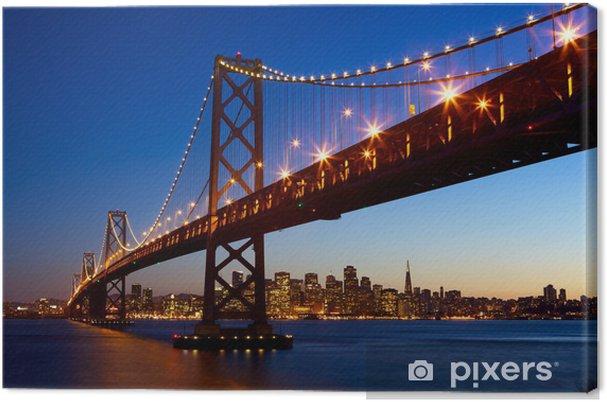 Quadro su Tela Skyline di San Francisco e la Bay Bridge al tramonto, California, USA - Temi