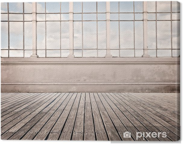 Quadro su tela soggiorno con ampia finestra e pavimento in legno