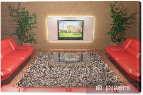 Quadro su Tela Soggiorno con divani rossi e Televisore • Pixers ...