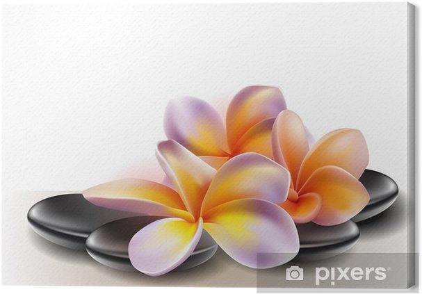 Quadro su Tela Spa concetto zen pietre con fiori di frangipani ...
