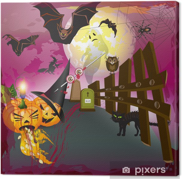 Quadro su Tela Spaventoso Halloween con zucche 6a0bdf5a4afb