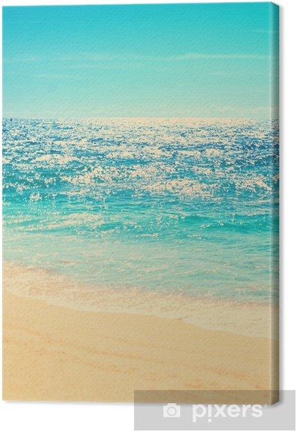 Quadro Su Tela Spiaggia Estiva E Sfondo Onda Morbida Sabbia E Mare