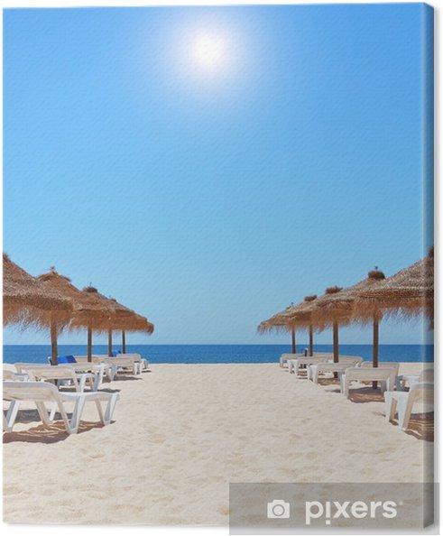 Ombrelloni Per La Spiaggia.Quadro Su Tela Splendida Giornata Estiva In Spiaggia Vicino Al Mare Ombrelloni Un