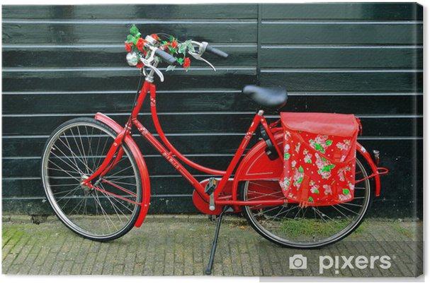 Quadro Su Tela Splendidamente Decorate Con Bicicletta Rossa Per Le Donne