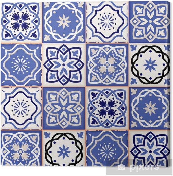 Quadro su Tela Splendido motivo patchwork senza soluzione di continuità da piastrelle colorate marocchine - Texture