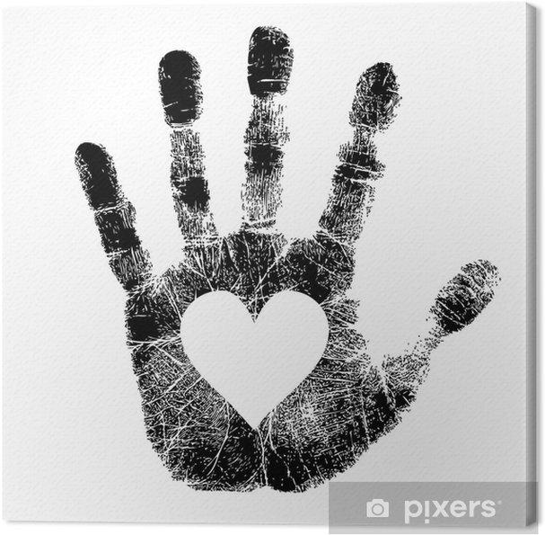 785fc3ab97 Quadro su Tela Stampa della mano con il cuore