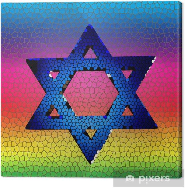 Quadro su Tela Stella di David in vetro colorato - Religioni