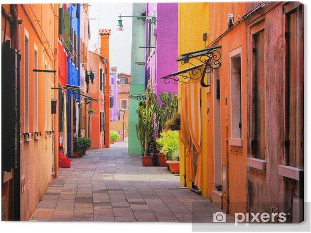 Quadro su Tela Strada colorato a Burano, vicino a Venezia, Italia -