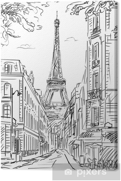 Quadro su Tela Street in paris - illustrazione - Temi