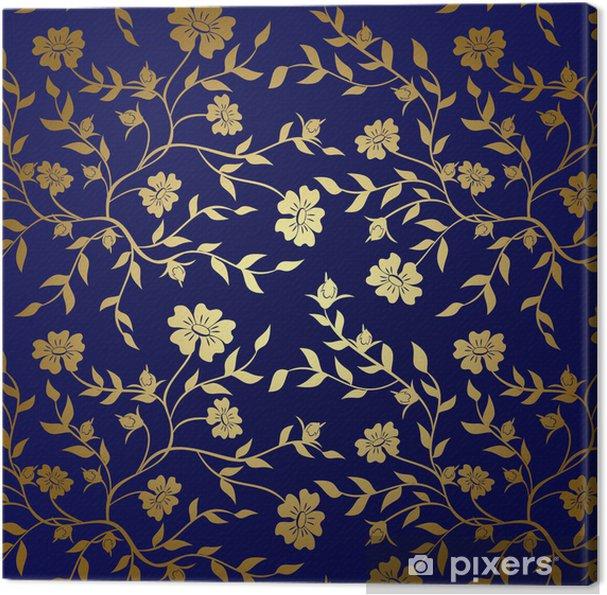 Quadro Su Tela Struttura Floreale Blu E Oro Per Lo Sfondo Vettore