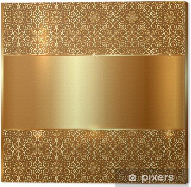 Quadro Su Tela Targa Doro Metallo Con Ornamento Etnico Sfondo