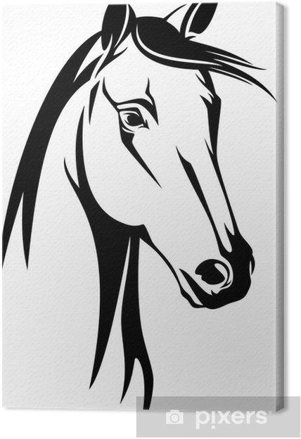 Quadro Su Tela Testa Di Cavallo Disegno In Bianco E Nero Pixers