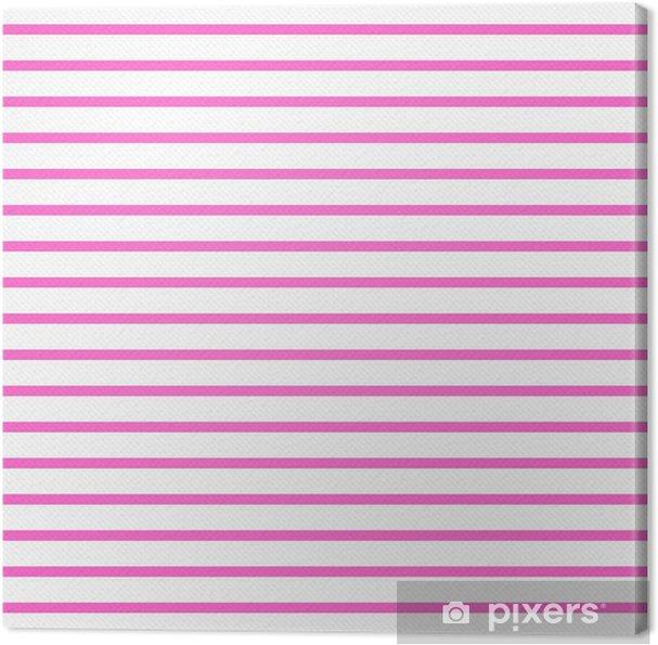 Quadro Su Tela Thin Rosa Luminoso E Bianco A Righe Orizzontale