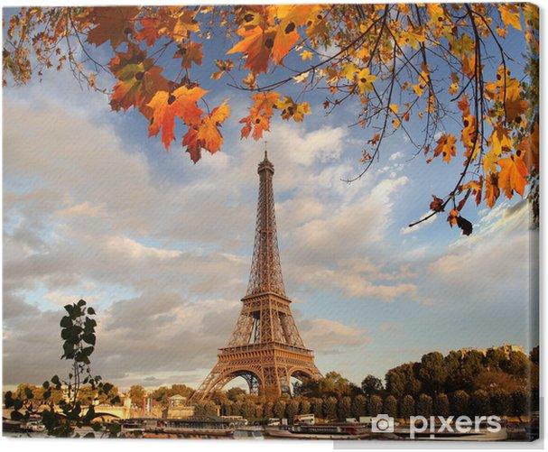 Quadro su Tela Torre Eiffel con foglie di autunno a Parigi, Francia - Temi