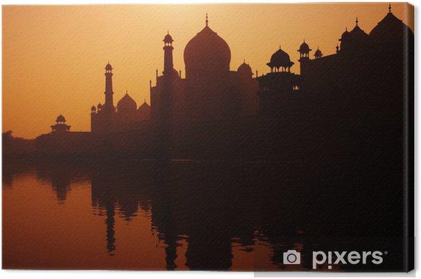 Quadro su Tela Tramonto Silhouette di una grande Taj Mahal - Edifici pubblici