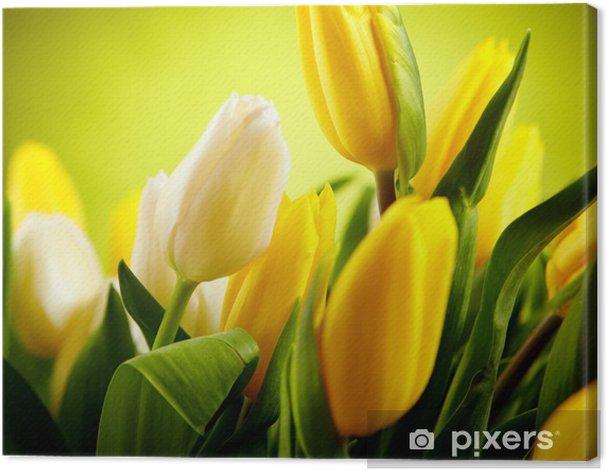 Quadro su Tela Tulipano fiori gialli e bianchi con copia spazio verde - Temi