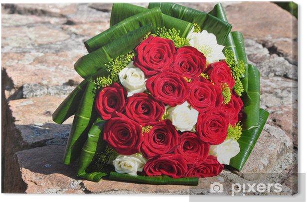 Bouquet Sposa Con Rose Rosse.Quadro Su Tela Un Bouquet Da Sposa Con Rose Rosse Pixers