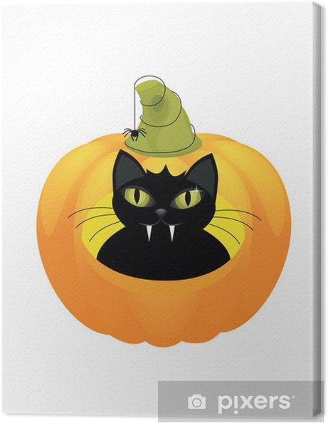 Zucca Halloween Gatto.Quadro Su Tela Un Gatto Nero Carino Su Una Zucca Di Halloween
