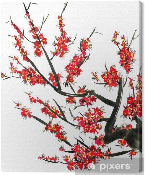 Quadro su Tela Un ramo di un albero in fiore. Fiori rosa di Sakura. Acquarello e illustrazione inchiostro in stile sumi-e, u-sin. pittura tradizionale orientale. Isolato su sfondo bianco. - Piante & Fiori