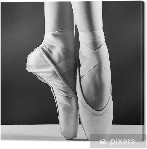 Quadro su Tela Una foto di punta della ballerina su sfondo nero - Stili