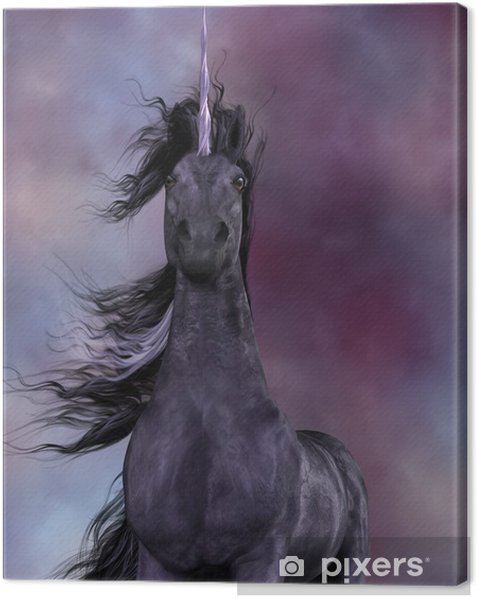 Quadro su Tela Unicorno nero - Animali immaginari