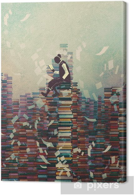 Quadro su Tela Uomo lettura libro mentre seduto su una pila di libri, concetto di conoscenza, illustrazione pittura - Hobby e Tempo Libero