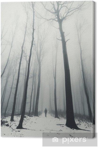 Quadro su Tela Uomo nella foresta con alberi ad alto fusto in inverno - Panorami