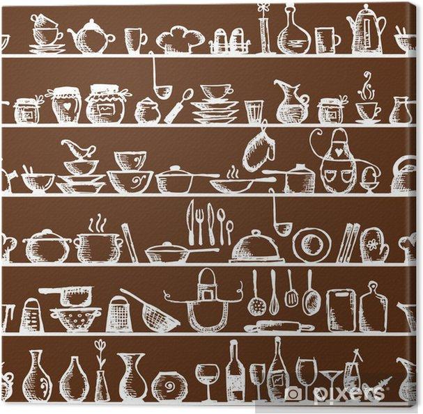 Quadro su Tela Utensili da cucina sugli scaffali, schizzo seamless pattern
