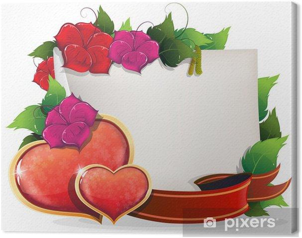 Quadro su Tela Valentines Day Card con cuori e fiori • Pixers ...