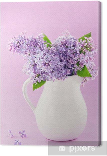 Mazzo Di Fiori Viola.Quadro Su Tela Vaso Bianco Con Un Mazzo Di Fiori Viola Lilla