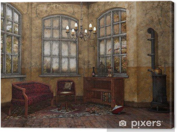 Divano Maria Rosaria : Quadro su tela vecchia stanza con una poltrona divano letto e