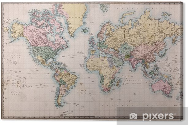 Quadro su Tela Vecchio Antique World Map su Mercator Projection -