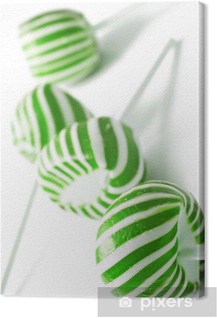 Quadro Su Tela Verde E Bianco Caramelle Lolly Appare Su Sfondo Bianco