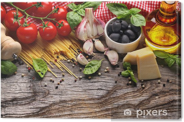 Quadro su Tela Verdure, erbe e spezie per la cucina italiana