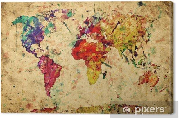 Quadro su Tela Vintage mappa del mondo. Vernice colorata, acquerello su carta grunge -