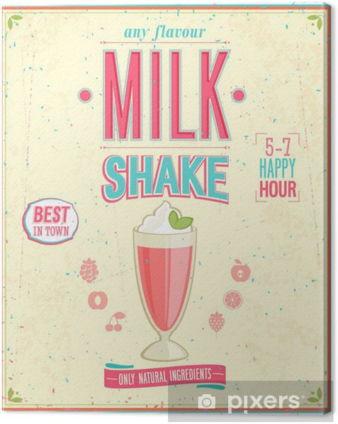 Quadro su Tela Vintage Milkshake poster. Illustrazione di vettore. - Stili